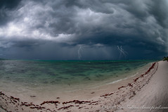 Storm by the shore, Quintana Roo, Mexico (Classicpixel (Eric Galton) Photography Portfolio) Tags: storm tempete clouds nuages landscape paysage shore beach mer plage sand sable lightning éclair hurricane ouragan tropical caribbean caraibes ericgalton classicpixel nikon 105mmf28 fisheye