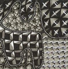 Big Mouth Bullfrog (molossus, who says Life Imitates Doodles) Tags: zentangleinspiredart zentangle graytoned tile