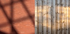 Chasing Light (Diptych) (Breeze of the Dene) Tags: shadow light reflection brick wood wabi sabi wabisabi leica x1 sun shade abstract