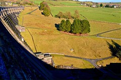 The Wall (rustyruth1959) Tags: nikon nikond3200 tamron16300mm yorkshire ripponden calderdale wall ryburn reservoir reservoirwall valley shadow green stone outdoor path trees buildings field hill walls landscape overflow ryburnvalley pole countryside sky rural fence baitingsreservoir