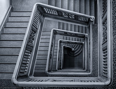 Some things (katrin glaesmann) Tags: hamburg germany stairs wendeltreppe treppenauge eye spiralstaircase photowalkwithmichael fotowalkmitmichael fotowalkmitmichio treppe banister monochrome blackandwhite stubbenhuk kontorhausstubbenhuk getreideheberhaus 19231925 architektdiplingwlemm
