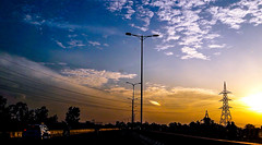 Dramatic moment (abhishekprasad985) Tags: sky sunset delhi orange blue magicmoments samsung