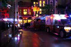 LegoNYC Night Scenes (sponki25) Tags: lego nyc new york city fdny nypd ambulance firetruck police interceptor ford seagrave engine 54 fire department cadillac escalade suv streets night