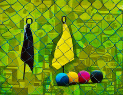 Uncharted Territory (Steve Taylor (Photography)) Tags: art digital black blue green yellow red newzealand nz southisland canterbury christchurch pattern texture flag balls fence chainlink