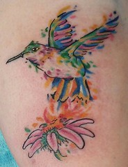 Watercolor Hummingbird (lovelifetattoony) Tags: newyork flower art tattoo hummingbird hudsonvalley