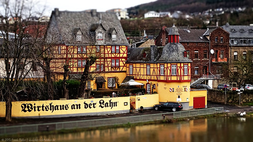 """Tavern on the Lahn"" in Lahnstein/Germany (Tilt-Shift)/""Wirtshaus an der Lahn"" in Lahnstein (Tilt-Shift)"