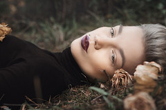 Nastya (ivankopchenov) Tags: flowers portrait black girl forest dark outdoor tear spiritofphotography