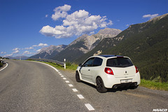 Small car, big joy (Iceman_Mark) Tags: summer white 3 black alps cup sport four switzerland noir clio renault 200 cylinder pearl sent phase limited edition rs blanc engadin scuol naturally givre 2010 graubnden nacr 2litre aspirated