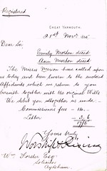 Letter to William Forster, Solicitor re Emily & Ann Morton deceased and sisters, Caister, Norfolk 1895 (North West Kent Family History Society) Tags: sisters born norfolk daughters letter circa died 1825 aylsham charges rector dated thrigby 1826 1829 1832 solicitor emilymorton affidavits marymorton annmorton williamforster mariamorton ecbdcollection 21stnovember1895 caistornextyarmouth 6thmay1895 8thmay1895 reverendjohnmorton missesmorton septimamorton