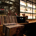 Record collection at a bar