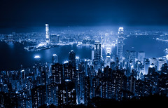 Hong Kong Blue Night (Yohsuke_NIKON_Japan) Tags: china city longexposure hk skyscraper hongkong nikon asia business nightview nano  icc ifc victoriapeak d600 1635mm 2ifc 1ifc  icchongkong