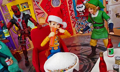 Christmas Party 1 (RandomWatts) Tags: christmas holiday beer toy photography action ninja spiderman woody turtles drugs figure link pokemon booze zelda michelangelo playhouse legend 3rd lupin peewee tmnt psyduck 2015 jigen deadpool revoltech