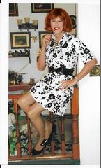 Black n White Dress (bobbievnc) Tags: tgirl crossdresser redhair dress shortdress whitedress pantyhose pantyhoselegs tanpantyhose heels highheels pumps