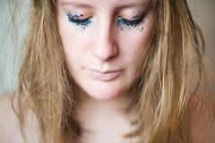 Day 319, Year 9. (evilibby) Tags: 365 3659 365days 365days9 libby glitter blue blueglitter eyesclosed eyelashes messyhair blonde portrait messy