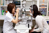 Female doctor inspecting patient's eye (Apricot Cafe) Tags: img628993 japan kanagawa sigma35mmf14dghsm confidence doctor eyeclinic happiness healthcare hospital indoor medical modelshooting nurse ophthalmology patient people relaxation relief smile sagamiharashi kanagawaken jp