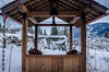 seating for two (treehuggerdcg) Tags: 52in2017 117in2017 winter teahouse backyard garden snow copper rainchain wood wooden ilivehere