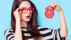 8 Reasons Time Is Worth More Than Money (OfficeTracer) Tags: officetracercom shirt fashion portrait women females photoshoot fashionmodel youngadult looking alarmclock number beauty backgrounds caucasianethnicity lipstick makeup time cool joy happiness satisfaction elegance care white red purple blue blackcolor lookingatcamera affectionate cheerful emotion redhead bell clock eyeglasses