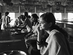 dining hall (Dean Forbes) Tags: india school rural dininghall tamilnadu girl students bw