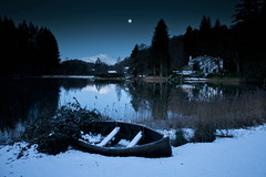 A cold night on the loch (PeterYoung1.) Tags: atmospheric beautiful cold ard boat evening landscape moon nature reflections peteryoung1 lochard scenic scotland moonlight water night