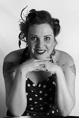 pin up shoot (Donna Da Yettta - @work & study) Tags: blackandwhite inked pinup eye eyecontact girl ink monochrome portrait rock rockabilly tattoo vintage