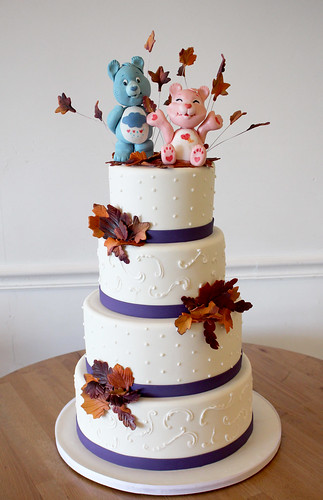 Care Bears in Leaf Pile Wedding Cake