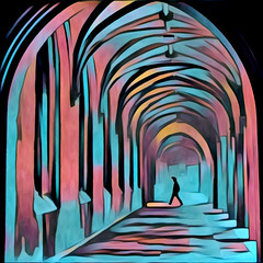 St John's College, Cambridge in the mist (Prisma) (Daddy Blue) Tags: manip manipulation prisma app cs5