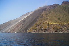 Stromboli (t.horak) Tags: awesome wonderful landscape volcano stromboli slope lava sea black blue shore rock sails boats dust smoke