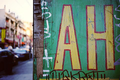 AH. (Eric Flexyourhead) Tags: vancouver canada britishcolumbia bc chinatown penderstreet eastpender newsunahhotel city urban detail fragment sign hotel old weathered worn red green yellow sonyalphaa7 zeisssonnartfe35mmf28za zeiss 35mmf28