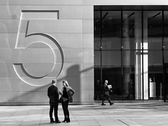 Two Plus One Equals Five (Douguerreotype) Tags: uk gb britain british england london city urban office business finance 5 five bw blackandwhite mono monochrome street people three 3 candid work