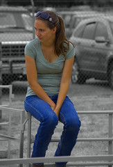 She Is Sitting On The Fence (swong95765) Tags: woman female lady seated sitting fence waiting unsure pondering