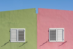 Pink and green houses (on Explore) (Jan van der Wolf) Tags: map167319ve pink green house groen rose facade gevel windows ramen shadows schaduwen symmetric symmetry symmetrie dissymmetry huis grancanaria crucedearinaga