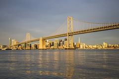 City Of Gold (LifeLover4) Tags: williebrown ciytscape sunrise sanfrancisco reflections bridge architecture structure water arima boat hughstickney stickneydesign span