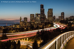 Downtown View from Rizal Bridge (P8203239) (Michael.Lee.Pics.NYC) Tags: seattle longexposure skyline night washington downtown cityscape i5 olympus interstate bluehour 12thavenue mkii markii em5 drjoserizalbridge voigtlandernokton25mm livecomposite