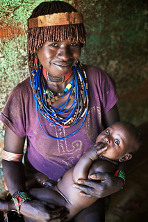 Hamer woman with baby, Dimeka, Omo Valley, Ethiopia