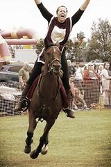 Look - No Hands! (velton) Tags: ladies girls horse storm race scotland clyde scottish parade pony boardwalk aviary carter irvine riders ayrshire marymass