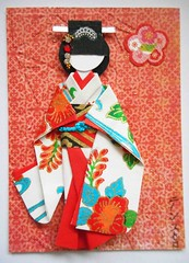 "ATC1278 - Beauty in a ""furisode"" 3 (tengds) Tags: flowers blue red orange white atc artisttradingcard asian japanese card kimono obi bindi papercraft japanesepaper washi ningyo handmadecard chiyogami yuzenwashi japanesepaperdoll nailsticker indianbindi origamidoll kimonodoll nailartsticker tengds bingatapaper okinawabingatapaper"