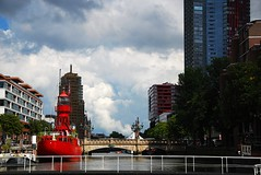 A day in Rotterdam (neil mp) Tags: red sky cloud holland netherlands rotterdam europe maritimemuseum lightship meuse redapple schiedamsedijk leuvehaven wijnbrug newleuvebrug
