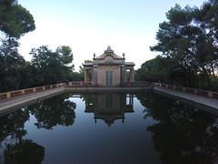 Horta (lunat1k) Tags: barcelona old travel trees sky reflection water pool architecture mirror pond spain bcn peaceful wideangle cataluny calm clear pavilion tranquil neoclassical nofilter gopro goprotravel hero4session