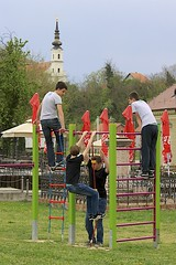 Boys at the Playground (oxfordblues84) Tags: boy red sky green church boys playground kids clouds europe croatia churchtower baroque gym junglegym cloudysky vukovar vikingrivercruise baroquechurch passagetoeasterneurope croatianboys churchofsaintsphilipandjames
