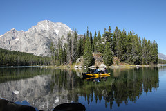 KayakingLeighLake_DEK_7319a (DennisKirkland) Tags: people nature reflections outdoors fishing couple mt action smooth kayaking evergreens recreation activity moran grandtetonnationalpark gtnp leighlake