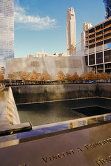 Autumn in New York: Reflecting Pool, World Trade Center, Lower Manhattan, (Jeffrey) Tags: nyc november memorial downtown manhattan worldtradecenter sunday financialdistrict batterypark tribeca wtc reflectingpool lowermanhattan worldtrade downtownnyc oneworldtrade