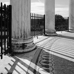 Lines and Curves (george.bremer) Tags: afternoon caffenol columns curved epson fence film kodak mamiya6 marble mosaic newyork park scan shadows summer tmax400 tmy untermyer usa v750 vuescan westchester yonkers