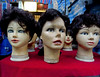 Ladies Market Heads (cowyeow) Tags: mongkok kowloon wig wigs creepy scary evil disturbing hair old makeup ugly ladiesmarket hongkong china chinese asia asian lipstick stare retail market display mannequin mannequins head heads weird odd strange dummy dummies