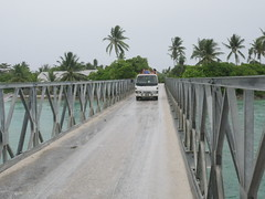 Kiribati consists of a small strip of land and the transport here either goes up or down the island.