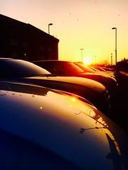 Car Trouble (Explore) (sjpowermac) Tags: car carpark sunset motorail upholstery trouble bonnets orange december reflection sun birds lamppost platform suv