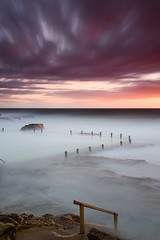 Flashes of Red (Rodney Campbell) Tags: maroubra mahon pool sunrise water cpl longexposure littlestopper rock gnd09 clouds newsouthwales australia au