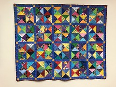 """Colorful Quilt Says """"Courageous, Calm, Content, and Hopeful Are We"""" (Chic Bee) Tags: quilt quilting colorful bright vivid dof yellow gold tucson arizona tmc tucsonmedicalcenter southwesternusa americansouthwest america usa"""
