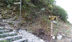 P1100986 Shortly after Bhedikharka we reach a signpost suggestin a uphill shortcut to Pothana leaving the road (11-07AM) (ks_bluechip) Tags: nepal trek dec2016 annapurna abc mbc landruk tolga pitamdeorali pothana