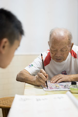 20160730_Caligraphy with Grandpa-4 (kiweep7) Tags: calligraphy brushpen grandparents