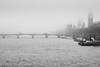 Foggy London Town (jonron239) Tags: london westminsterbridge fog mist parliament bigben clocktower river thames bus